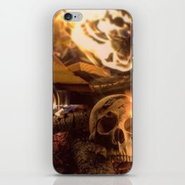 Catacomb Culture - Human Skull Fire iPhone Skin