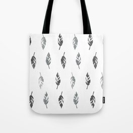 Lightly Feathered Boho Chic Farmhouse Grey Feather Print Tote Bag