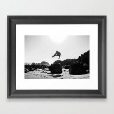 Beach Jump Framed Art Print