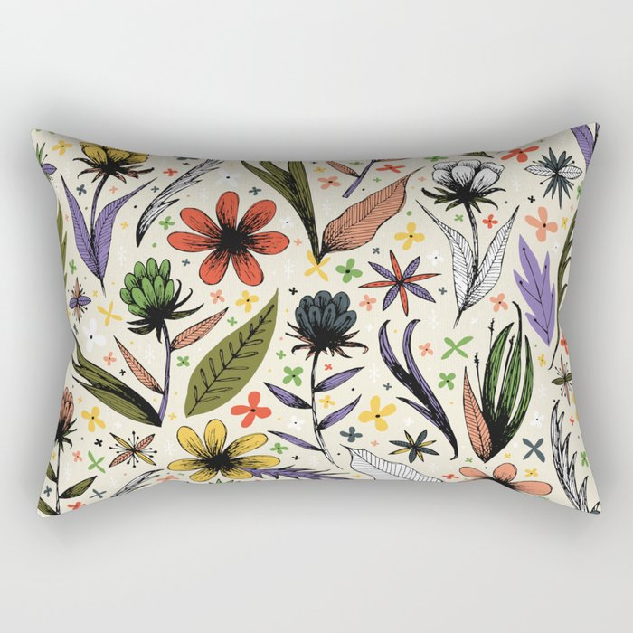 bright sketchy flowers Rectangular Pillow