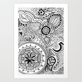 Zen Tangle Black and White Art Print