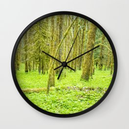Vibrant Mossy Green Forest Wall Clock