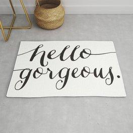 Hello Gorgeous - Black and White Type Rug