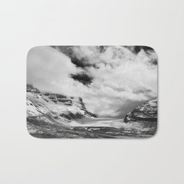 Mountains | Glaciers and clouds | Black and White | photography Bath Mat