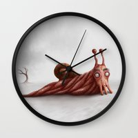 snail Wall Clocks featuring Snail by Alexander Skachkov