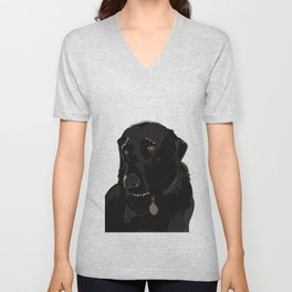 Labrador dog face (black) Unisex V-Neck
