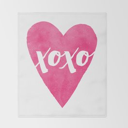 Watercolor XOXO - Magenta Throw Blanket