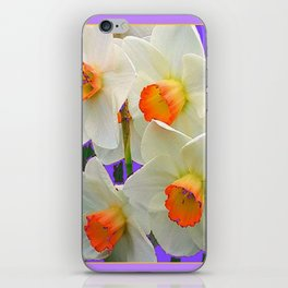 WHITE-GOLD NARCISSUS FLOWERS LAVENDER GARDEN iPhone Skin