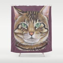 Arnie Tabby Tomcat Kitty Pastel Art Shower Curtain