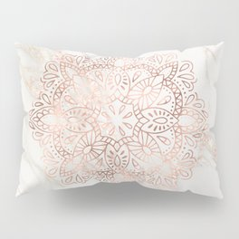 Rose Gold Mandala Marble Pillow Sham