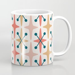 Mid Century Modern Abstract Star Pattern 221 Orange Ochre Dusty Rose and Teal Coffee Mug