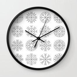 minimalist snow flakes Wall Clock