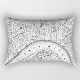 Vintage Map of New Orleans (1880) BW Rectangular Pillow