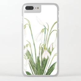 white snowdrop flower watercolor Clear iPhone Case