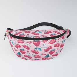 Cherries, berries and strawberries // pink background red fruits Fanny Pack
