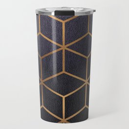 Dark Purple and Gold - Geometric Textured Gradient Cube Design Travel Mug