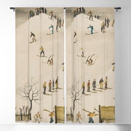 The Practice Slope winter skiing landscape painting by Franz Sedlacek  Blackout Curtain