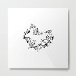 Whale Lineart Metal Print