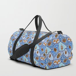 Hanukkah Dreidel Mosaic in Dark Blues Duffle Bag