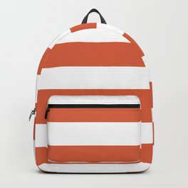 Medium vermilion - solid color - white stripes pattern Backpack