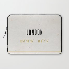 Vintage London Gold Foil Location Coordinates with map Laptop Sleeve