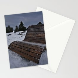Lonley Bench At Snowy Kahler Asten Stationery Cards