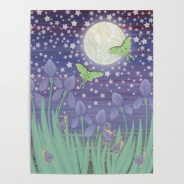 Moonlit stars, luna moths, snails, & irises Poster