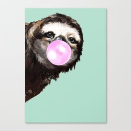 Bubble Gum Sneaky Sloth in Green Canvas Print