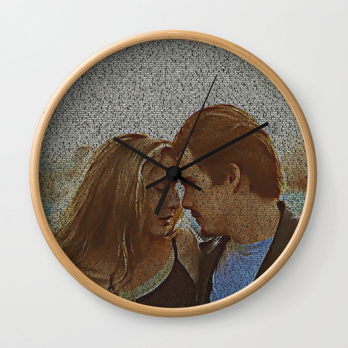 Text Portrait of Ethan Hawke and Julie Delpy with Full Script of the movie Before Sunrise Wall Clock