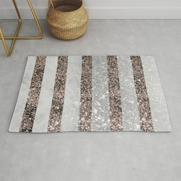 White Marble Rose Gold Glitter Stripe Glam #2 #minimal #decor #art #society6 Rug