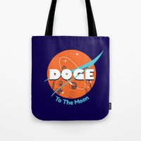nasa Tote Bags featuring Doge Nasa Variant (To The Moon!) by Tabner's