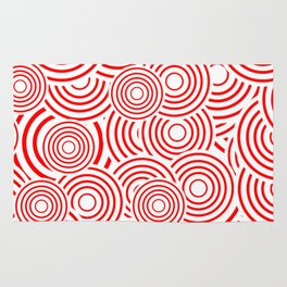 circles in red and white Rug