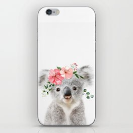 Baby Koala with Flower Crown iPhone Skin