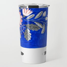 blue girl with raindrops and floral watercolor Travel Mug