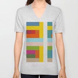 Unicorn - Abstract Colorful Stripes Grid Unisex V-Neck