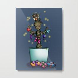 Christmas Baby Groot Metal Print