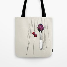 raspberry on spoon by carographic Tote Bag