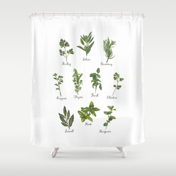 HERBS on white Shower Curtain