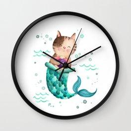 Purrmaid Illustration Wall Clock