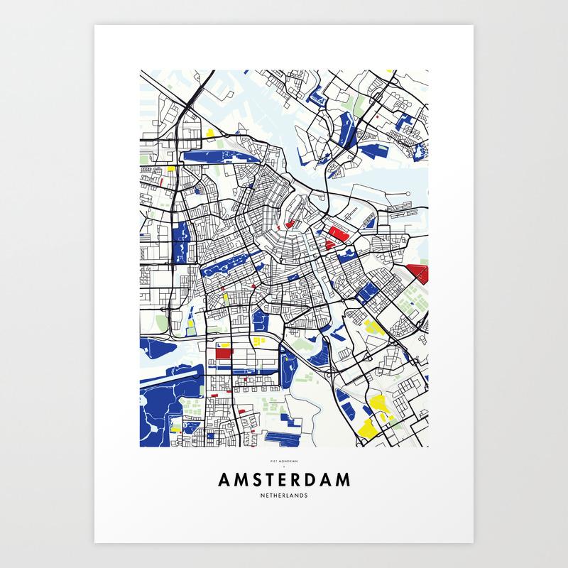 Amsterdam (Netherlands) Map x Piet Mondrian Art Print on berlin map, israel map, holland map, stockholm on map, belgium map, copenhagen map, rotterdam map, hamburg map, moscow map, madrid map, athens map, budapest on map, denmark map, edinburgh map, the netherlands map, constantinople map, europe map, leiden map, kinderdijk map, world map,