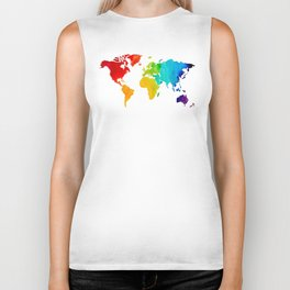 Original Watercolor - Map of The World - Travel Art - Chakra Rainbow Colors Biker Tank