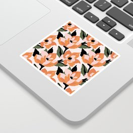 Bold orange poppy on a soft pink base Sticker
