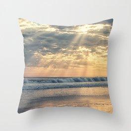 Rays From Above sun rays on Cayucos Beach Throw Pillow