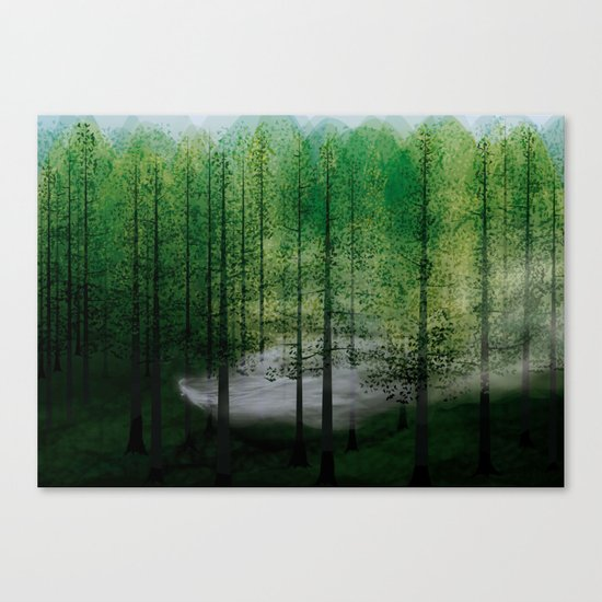 LADY FOG IN FOREST Canvas Print