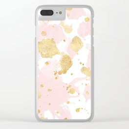 Blush Pink Gold Splatters Abstract Clear iPhone Case