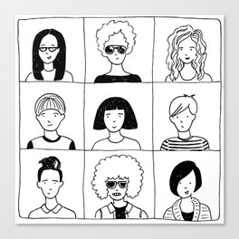 Nine people and their favorite haircuts Canvas Print