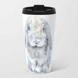 Mini Lop Gray Rabbit Watercolor Painting Travel Mug
