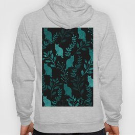Watercolor Floral and Cat IV Hoody