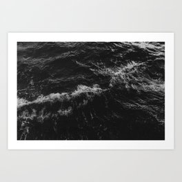 Dark Ocean in Black and. White Art Print