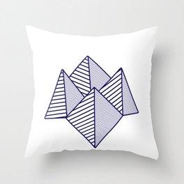Paku Paku, navy lines Throw Pillow